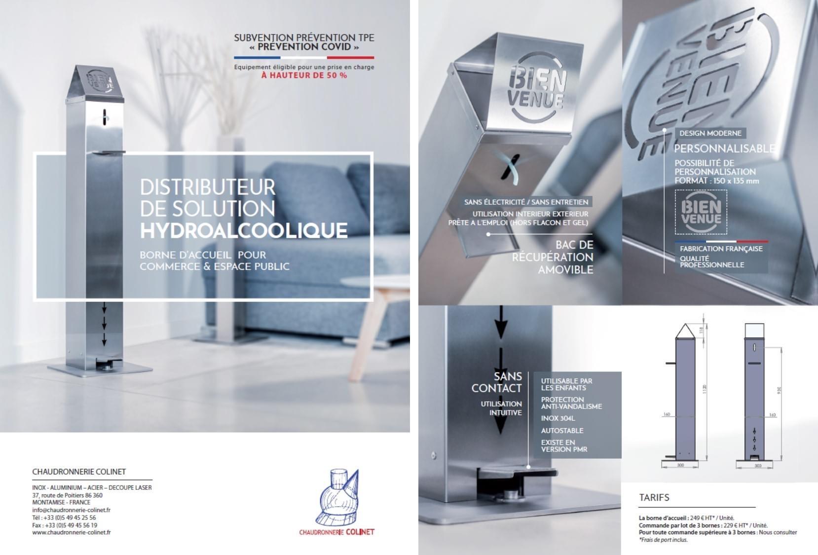 borne gel hydroalcoolique SGA Colinet Poitiers France